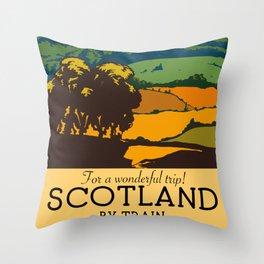 "Scotland ""For a Wonderful trip!"" Train poster. Throw Pillow"