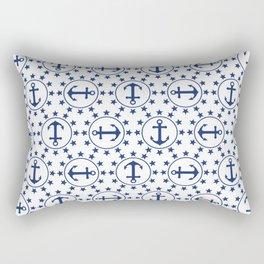 Navy Blue Anchors and Stars Nautical Pattern Rectangular Pillow