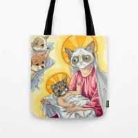 christ Tote Bags featuring Internet Christ  by Quigley Down Under