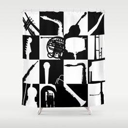 Pop Music Art B&W Shower Curtain