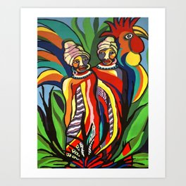 African Traditional Tribal Women Abstract Art Canvas Painting Series - 2 Art Print