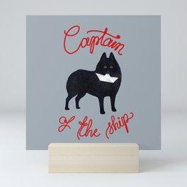 Captain Schipperke (Gray and Red) Mini Art Print