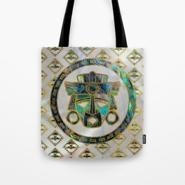 Tribal Ethnic  Mask Gold on Abalone Shell and Pearl Tote Bag