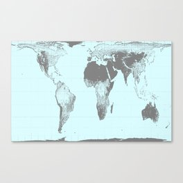 World Map : Gall Peters Aqua Canvas Print