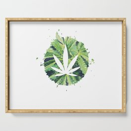 Cool hemp leaf grass green gift Serving Tray