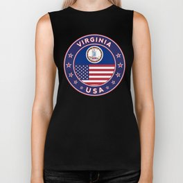 Virginia, USA States, Virginia t-shirt, Virginia sticker, circle Biker Tank