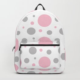 Pink Gray Polka Dot Backpack