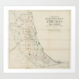 Vintage Map of The Chicago Railroads Art Print