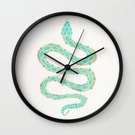 Mint & Gold Serpent Wall Clock