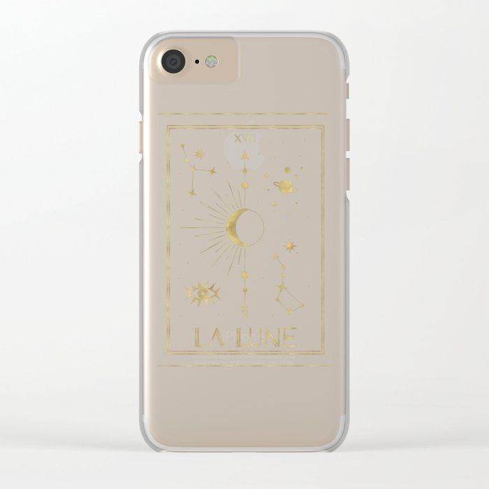The Moon or La Lune Gold Edition Clear iPhone Case