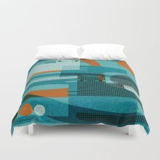 CATS ON BLUE WITH ORANGE Duvet Cover