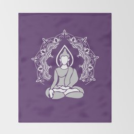 Buddha Meditation Mandala - violet Throw Blanket