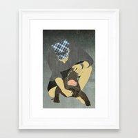 wrestling Framed Art Prints featuring Alligator wrestling by Aquamarine Studio