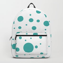 Mixed Polka Dots - Verdigris on White Backpack