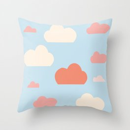 cloud blue and pink Throw Pillow