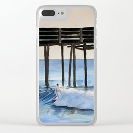 Riding a wave Watercolor Painting Clear iPhone Case