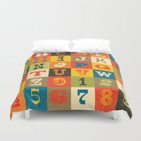 alphabet Duvet Covers featuring VINTAGE ALPHABET by Daisy Beatrice