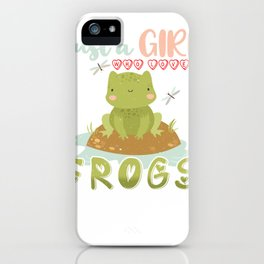 Girl Who Loves Frogs Cute Women and Moms iPhone Case