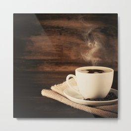 Happiness in a Cup (Porcelain coffee cup over wooden background) Metal Print