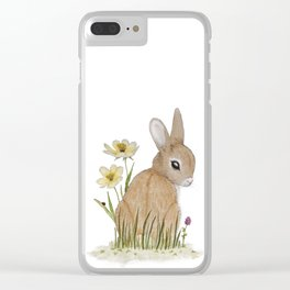 Rabbit Among the Flowers Clear iPhone Case