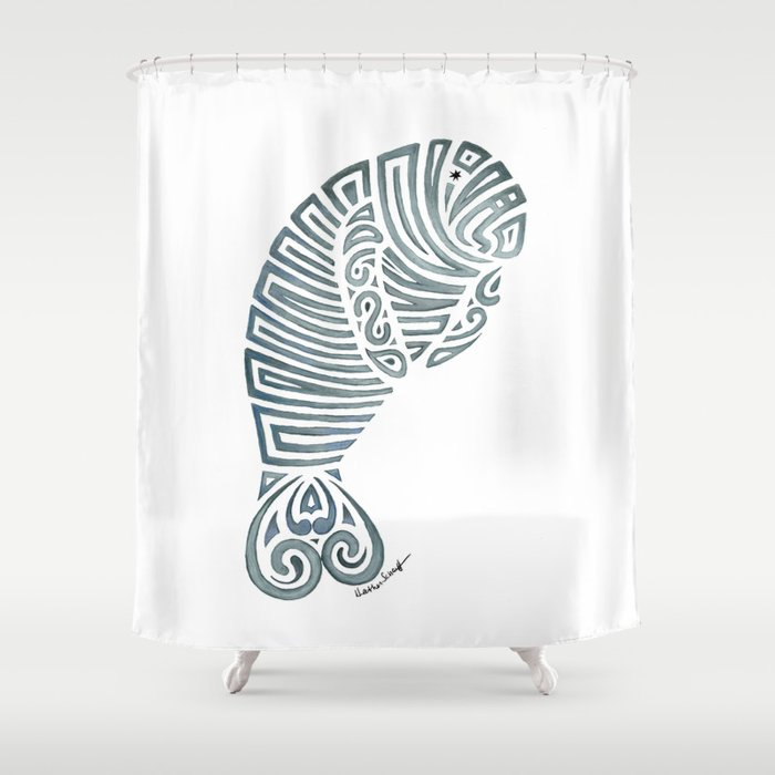 Tribal Manatee Shower Curtain