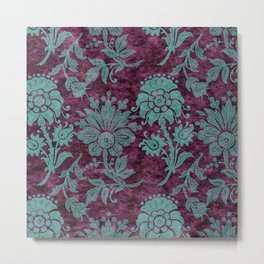 Burgundy Turquoise Velvet Floral Pattern 05 Metal Print