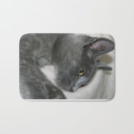 Close Up Portrait Of A Relaxed Grey Cat  Bath Mat