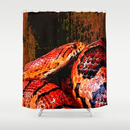 Grunge Coiled Corn Snake Shower Curtain