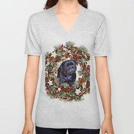 Christmas pug puppy Unisex V-Neck