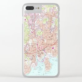 Stamford Connecticut Map (1987) Clear iPhone Case
