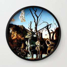 Salvador Dali Swans Reflecting Elephants 1937 Artwork for Wall Art, Prints, Posters, Tshirts, Men, Women, Kids Wall Clock