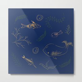 Hand Drawn Marine Life Metal Print