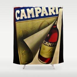 1957 Vintage Bitter Campari Aperitif Advertisement Poster by Carlo Fisanotti Shower Curtain