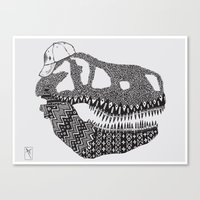 t rex Canvas Prints featuring T-rex by Surfing Shaman