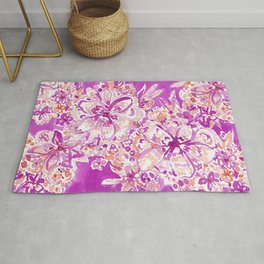 GOOD VIBES Wild Pink Watercolor Floral Rug