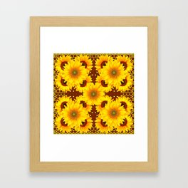 DECO BROWN MULTI YELLOW SUNFLOWERS Framed Art Print