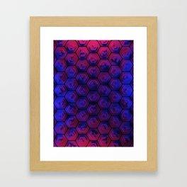 Blue hexagonal honeycomb Framed Art Print