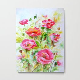Watercolor pink and red poppies Metal Print
