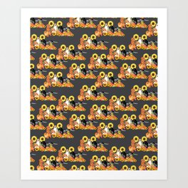 Coonhound Autumn Harvest Grey Art Print