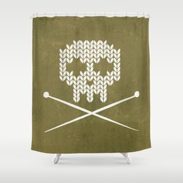 Knitted Skull / Knitting with Attitude (white on olive yellow) Shower Curtain