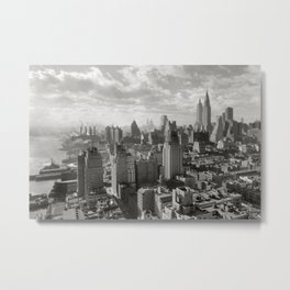 East River Waterfront, Empire State and Manhattan NYC Skyline black and white photograph Metal Print