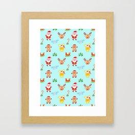 Cute Santa Claus, reindeer, bunny and cookie man Christmas pattern Framed Art Print