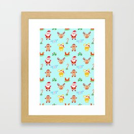 Cute Santa Claus, reindeer, bunny and cookie man Christmas pattern Framed Art Print