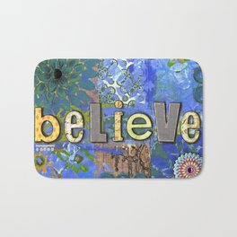 Blue Painting, Collage, Mixed Media, Believe, Inspirational Painting, Graduation Gift Bath Mat