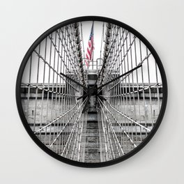The Brooklyn Bridge and American Flag Wall Clock