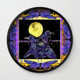 Purple-Black Ravens Under Full Moon Exotic Art Design Wall Clock