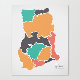 Ghana Map with states and modern round shapes Canvas Print