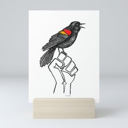 Resist! Red-winged Blackbird - Social Justice Bird Ink Illustration Mini Art Print