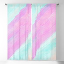 Modern geometric pink teal coral watercolor brushstrokes Blackout Curtain