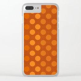 """Orange Burlap Texture & Polka Dots"" Clear iPhone Case"